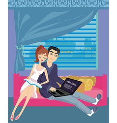 couple relaxing at home vector image