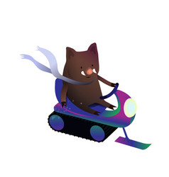Cute boar on a snowmobile rides vector