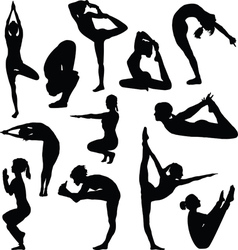 Different yoga poses vector