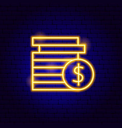 dollar coins neon sign vector image