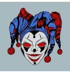 evil clown in colored cap vector image