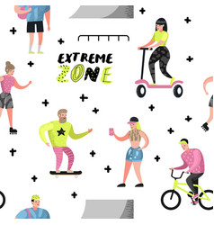 Extreme sports seamless pattern with cartoons vector