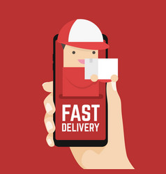 fast delivery online on mobile in your hand vector image