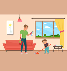 Father and son housekeeping together clean home vector