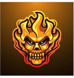 Fire skull head mascot logo vector