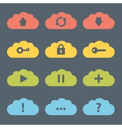 Flat Clouds Icon Set vector image