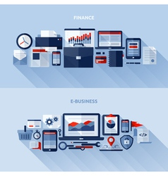 Flat design elements of finance and e-business vector image