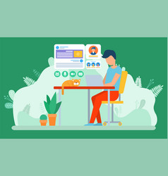 Freelancer working in office or home vector