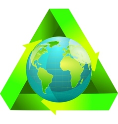 Globe wiht recycling symbol vector image