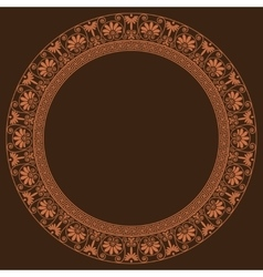 Greek traditional round frame in golden color vector