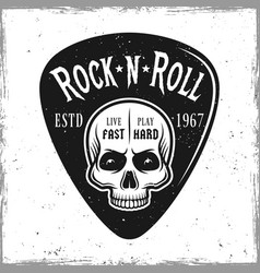 guitar pick with skull and text rock n roll vector image