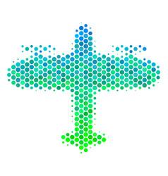 Halftone blue-green aircraft icon vector