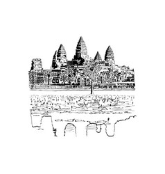Hand drawn sketch of angkor wat temple vector