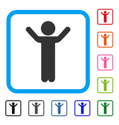 Hands up child framed icon vector