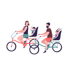 Happy family riding tandem bicycles or bicycling vector