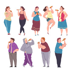Happy fat people eating fast food set cheerful vector