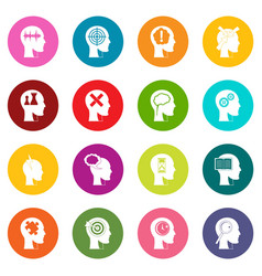 head logos icons many colors set vector image