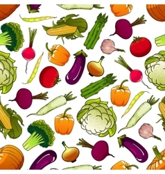 Healthy fresh seamless vegetables pattern vector