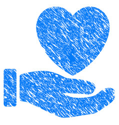 heart care hand grunge icon vector image