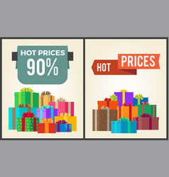 Hot prices total final sale discounts promo labels vector