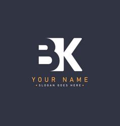Initial letter bk logo - minimal logo vector