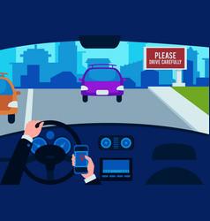 Interior car inside drivers hands vector