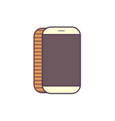 line icon white mobile phone isolated vector image