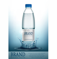 Mineral water realistic bottle container mockup vector
