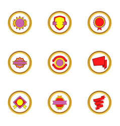 modern badges icons set cartoon style vector image