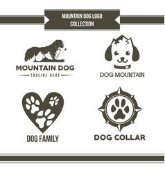 mountain dog logo collection vector image