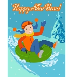 New year card cute child on snow tubing vector image