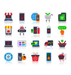 online shop simple flat color icons set vector image