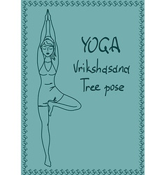 Outline girl in Tree yoga pose vector