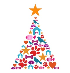 Pet care Christmas tree vector image