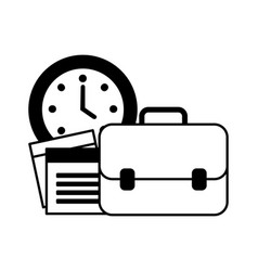 portfolio briefcase with watch and document vector image