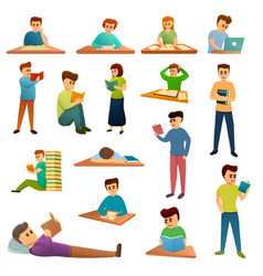 Preparation for exams icons set cartoon style vector