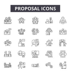 proposal line icons signs set outline vector image