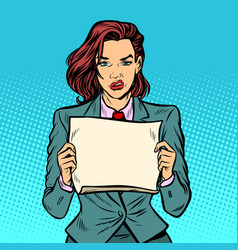 protester woman blank board serious face vector image