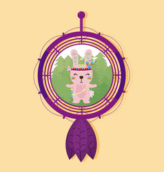 rabbit on dream catcher vector image