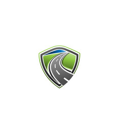 road construction with shield creative logo vector image