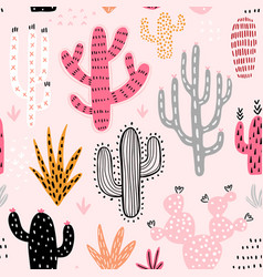 seamless cacti pattern cute colorful hand drawn vector image