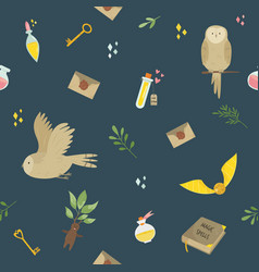 Seamless pattern with magic items tools and owls vector