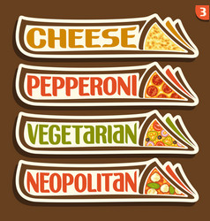 Set labels for italian pizza vector