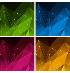 Set of Backgrounds with Color Polygonal Abstract vector image