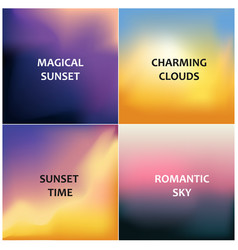 set of four blurred backgrounds magical sunset vector image