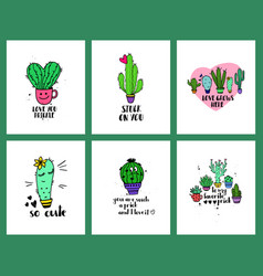 Set of love cacti cards and lettering vector