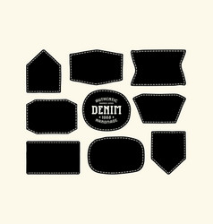 set patch silhouettes for denim clothing vector image