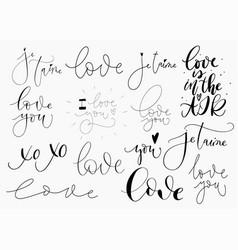 Set romantic love confessions on white vector