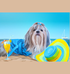 Shih tzu dog vacation vector