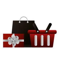 shopping online basket bag and gift vector image